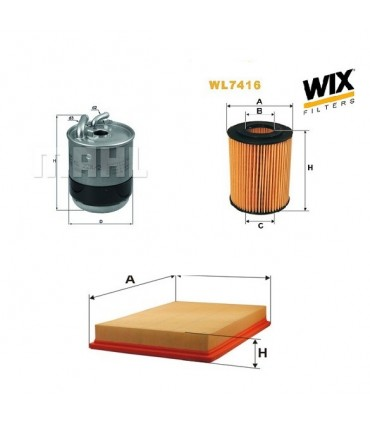 Kit filtro aceite, aire, combustible Jeep Grand Cherokee WH 3.0CRD